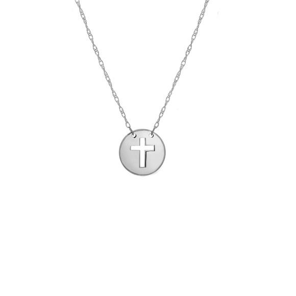 dc67e5932d8a Element Shine Jewelry | 14k Gold Mini Disk Cut Out Cross Necklace ...